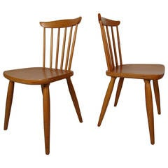 Mid Century Pair of Paul McCobb Style Maple Dining Chairs