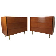 Pair of John Stuart Three Drawer Dressers