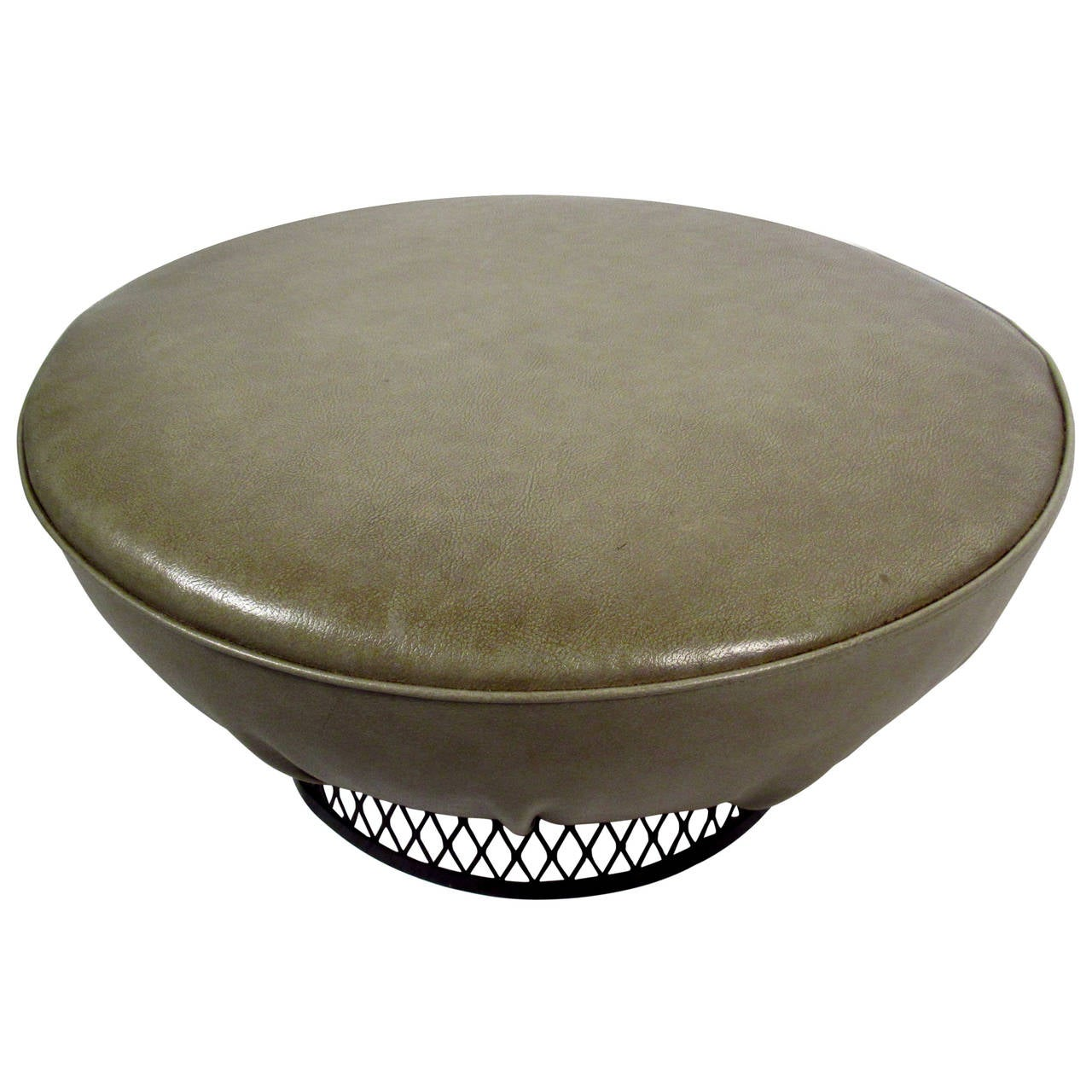 Mid Century Vinyl Ottoman With Sculpted Metal Base For
