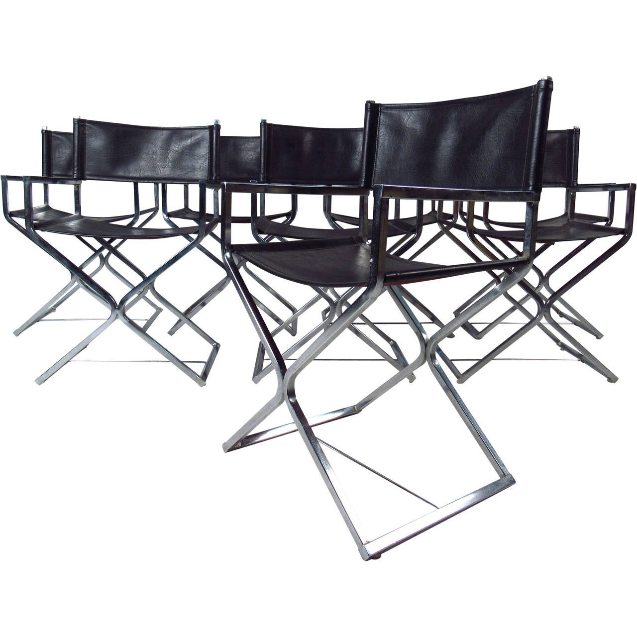 Mid Century Set Of Chrome And Leather Director Style Chairs By Virtue For  Sale
