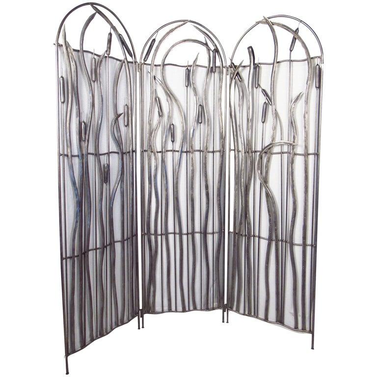 Three-Panel Metal Screen For Sale