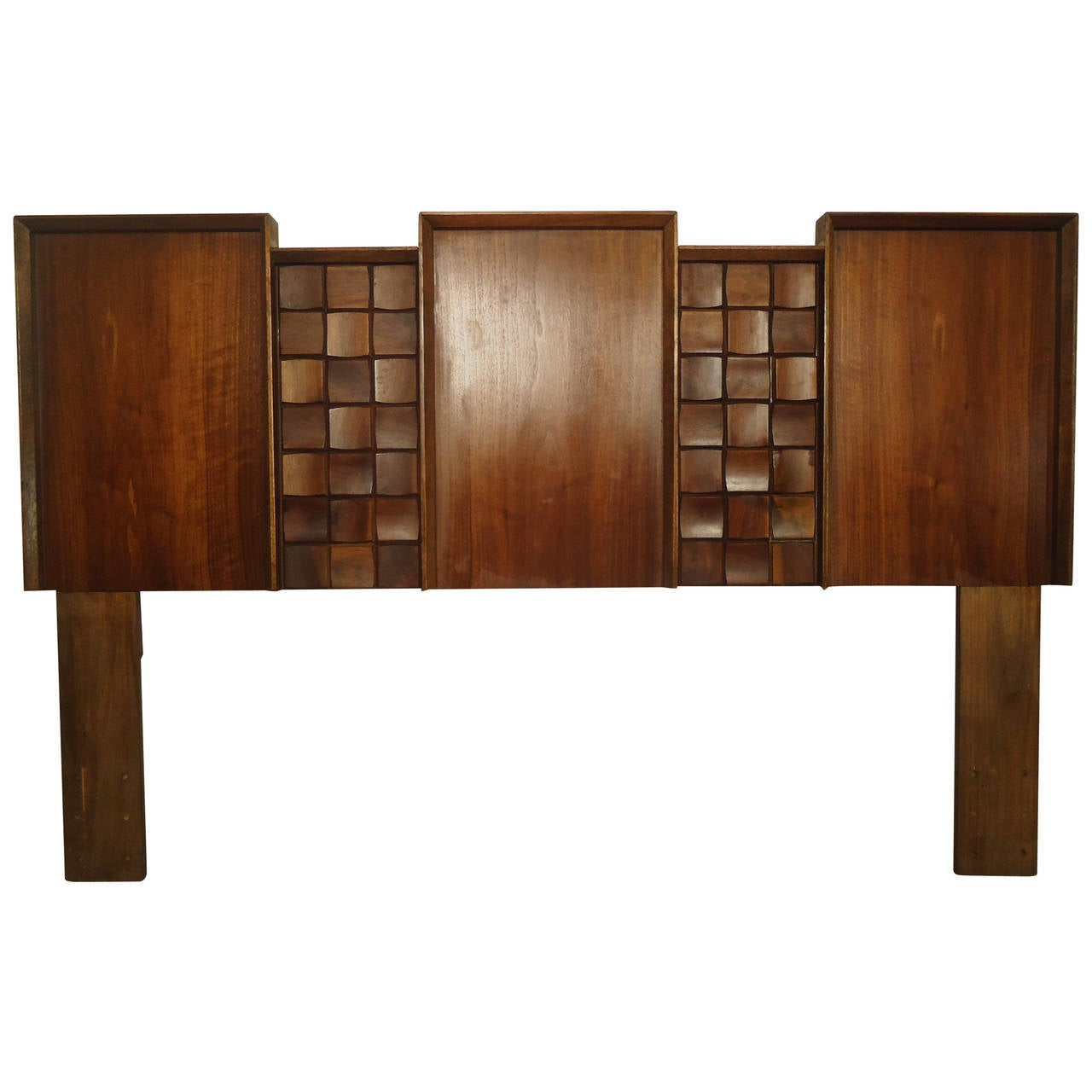 Midcentury American Made Sculpted Walnut Headboard For Sale