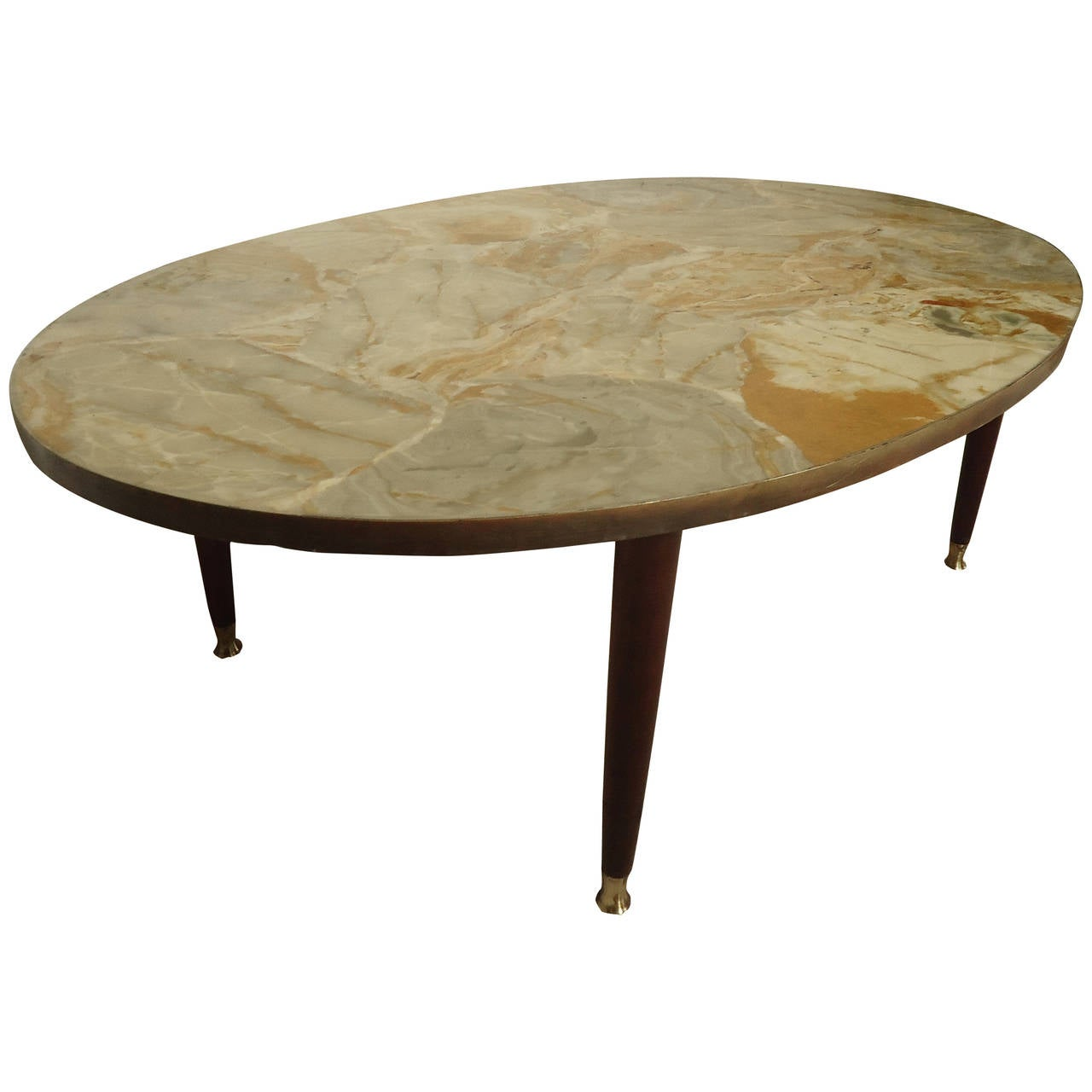 Mid Century Modern Marble Top Coffee Table: Mid-Century Modern Italian Marble-Top Coffee Table For