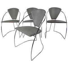 Set of Four Italian Chrome and Leather Chairs