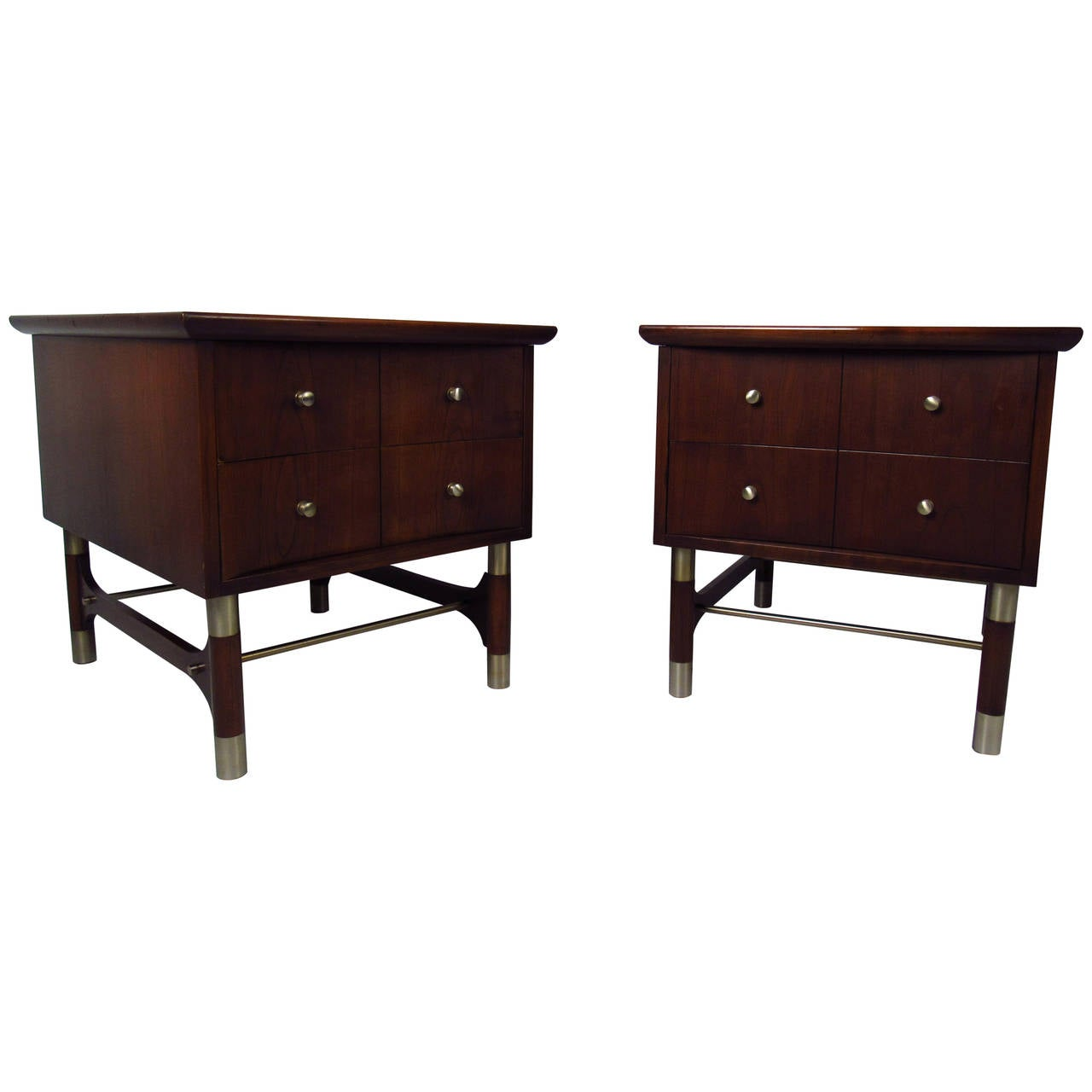Pair of Mid Century TwoDrawer End Tables by Weiman Furniture at 1stdibs