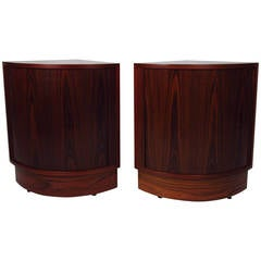 Pair of Tambour Rosewood Nightstands or Corner Cabinets