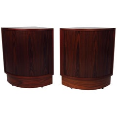 Pair of Mid-Century Tambour Rosewood Nightstands or Corner Cabinets