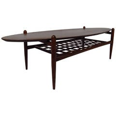 Scandinavian Modern Surfboard Coffee Table With Shelf