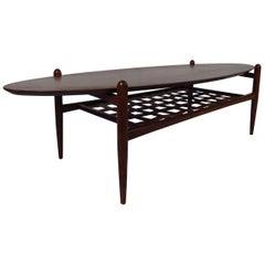 Scandinavian Modern Surfboard Coffee Table With Shelf