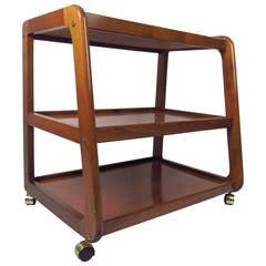 Mid-Century Modern Three-Tier Teak Rolling Cart
