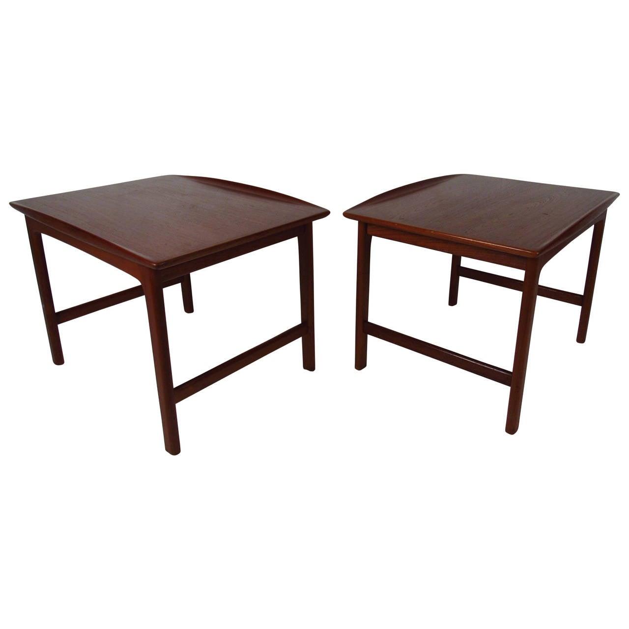 Pair of Midcentury Sculpted Teak End Tables