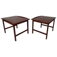 Pair of Midcentury Sculpted DUX Teak End Tables