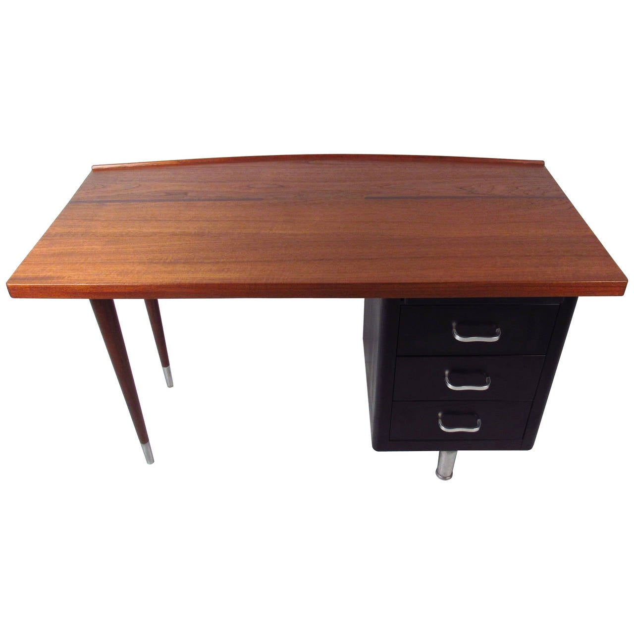 Vintage Industrial Writing Desk with Raised Edge