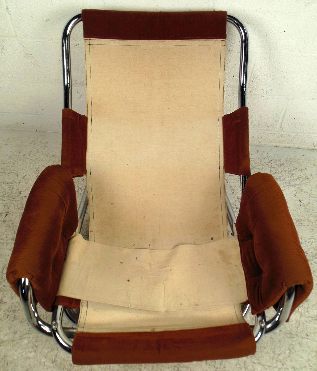 Mid-20th Century Vintage Modern Sling Style Lounge Chair For Sale