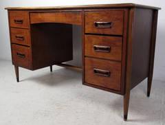 Mid-Century Walnut & Oak Desk By Lane