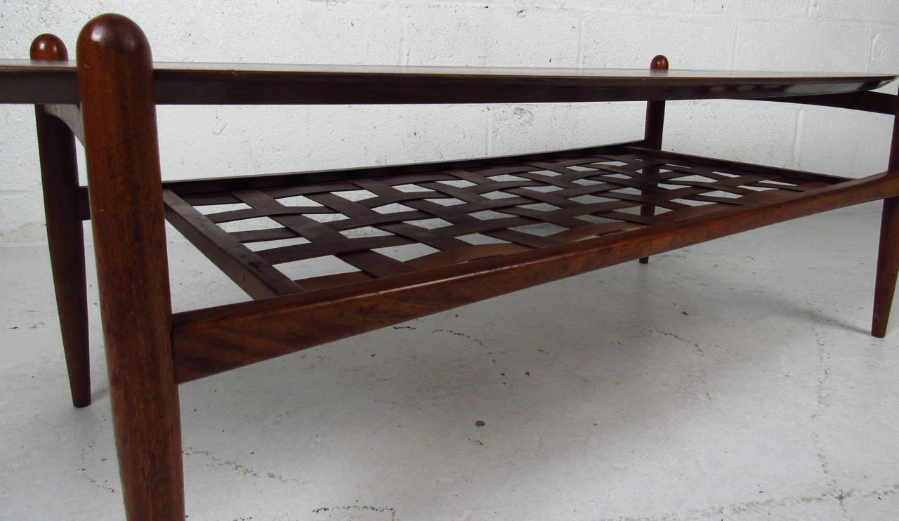 Mid-Century Modern Scandinavian Modern Surfboard Coffee Table With Shelf For Sale