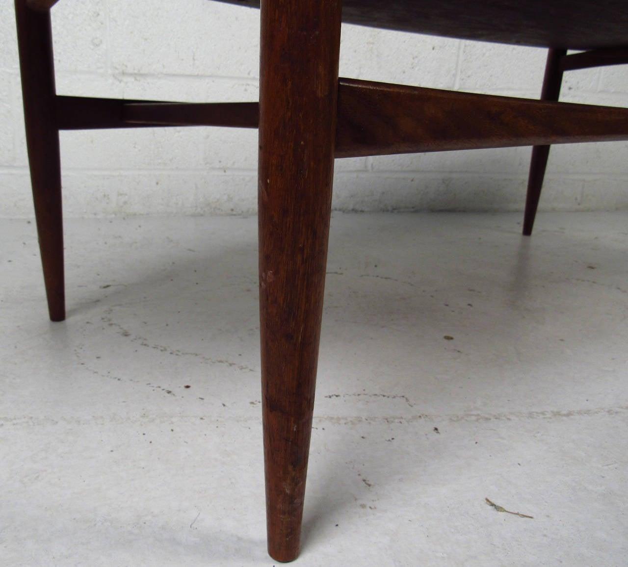 American Scandinavian Modern Surfboard Coffee Table With Shelf For Sale
