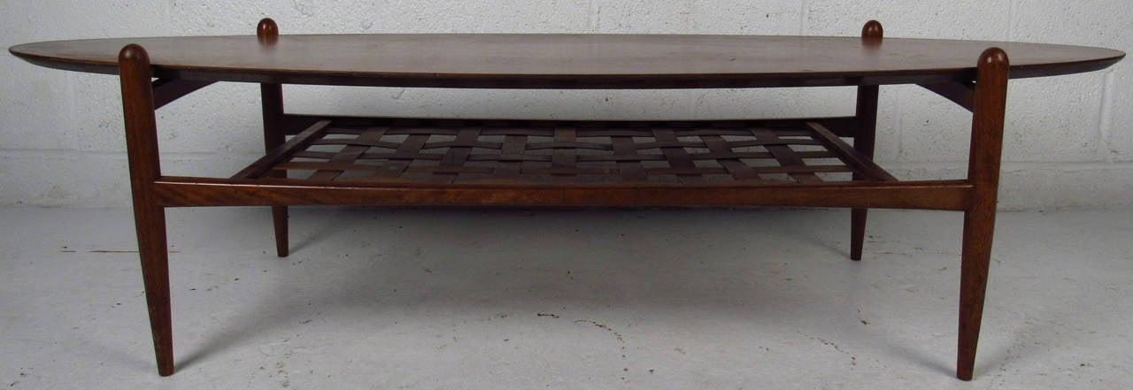 Mid-20th Century Scandinavian Modern Surfboard Coffee Table With Shelf For Sale