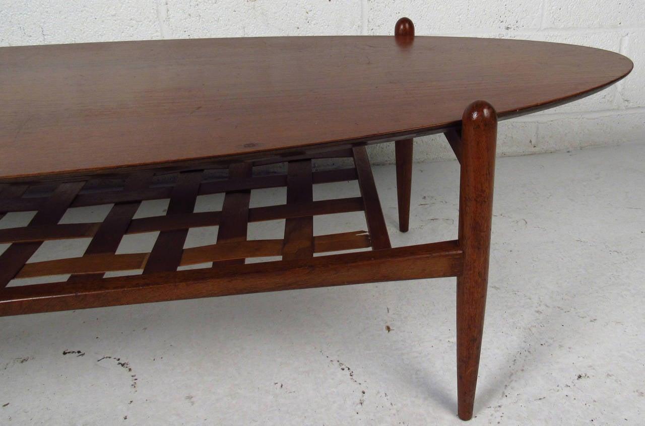 Scandinavian Modern Surfboard Coffee Table With Shelf For Sale 2