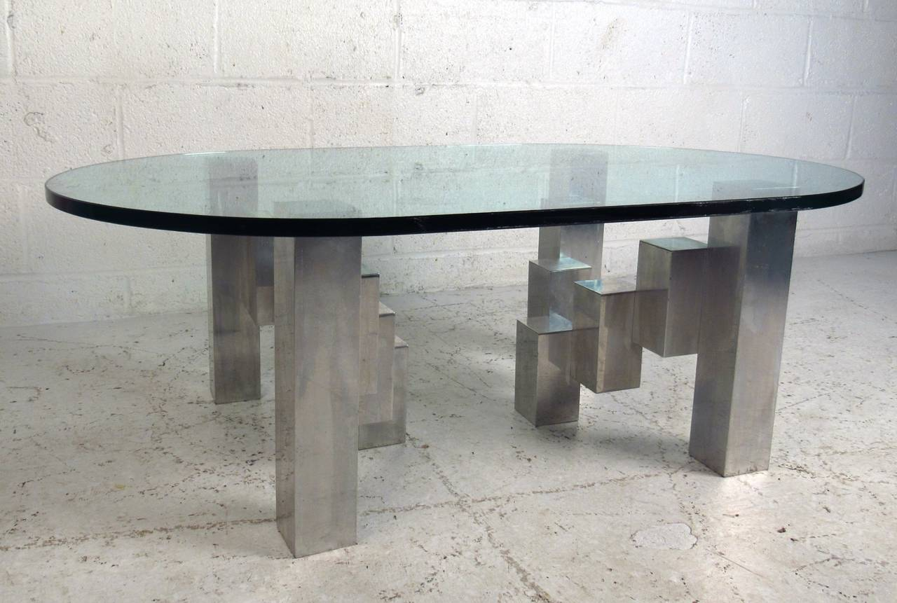 Mid Century Modern Cubist Aluminum Coffee Table In The Style Of Paul Evans 2