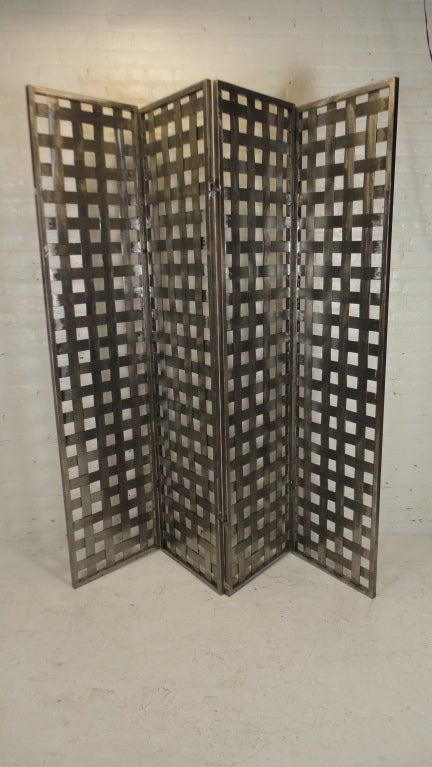 Industrial style metal four panel room divider at 1stdibs for Industrial room dividers