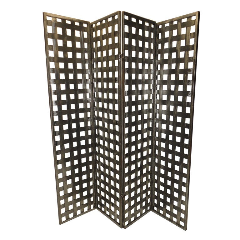 Industrial style metal four panel room divider for Industrial room dividers