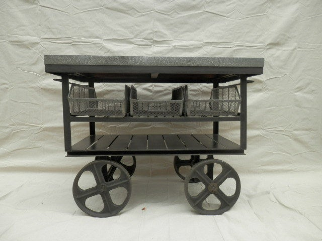 Industrial Metal Rolling Cart W Galvanized Top For Sale At 1stdibs