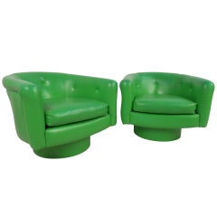 Pair of Vintage Lounge Chairs with Swivel Base