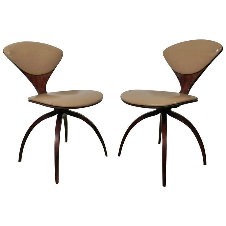 vintage swivel bentwood chairs by norman cherner for plycraft 1