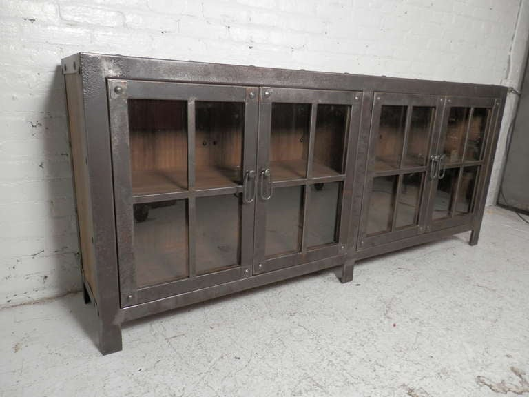 Machine Age Style Glass Door Console At 1stdibs