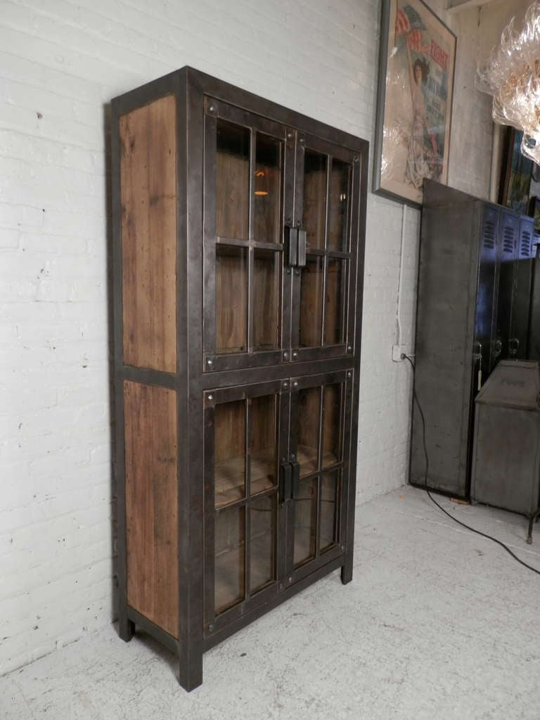 Reclaimed Iron And Wood Glass Door Cabinet For Sale At 1stdibs