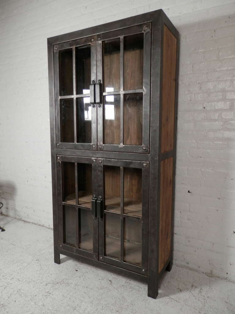 Reclaimed iron and wood glass door cabinet for sale at stdibs