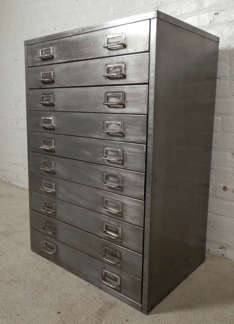Cole Steel Vintage Flat File Cabinet At 1stdibs