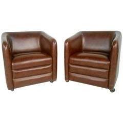 Pair of Mid-Century Vinyl Club Chairs by Shelby Williams