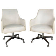 Unique Pair of Mid-Century Swivel Armchairs
