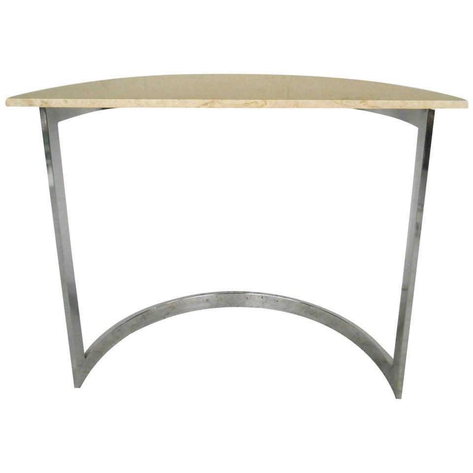 Midcentury Milo Baughman Style Marble Side Table