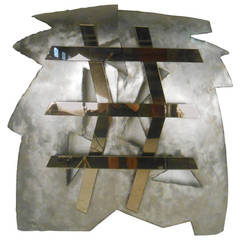 Mirrored Modernist Metal Wall Sculpture by Deidre Selig