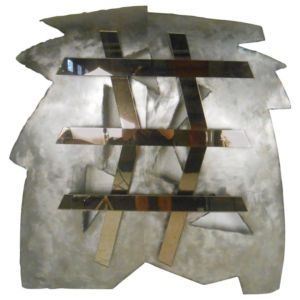 Mirrored Modernist Metal Wall Sculpture by Deidre Selig