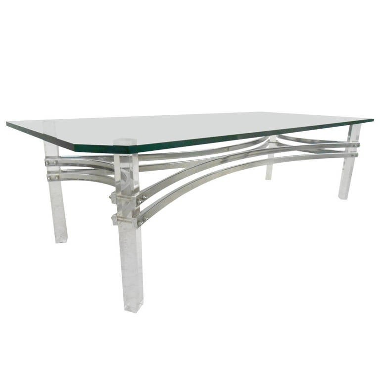 Vintage Lucite and Chrome Coffee Table