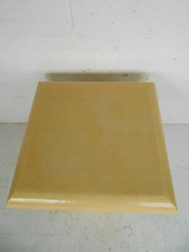 Mid-Century Modern Vintage Karl Springer Style End Table in Faux Skin Finish For Sale