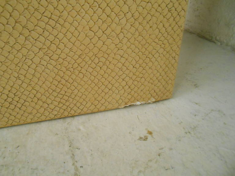 American Vintage Karl Springer Style End Table in Faux Skin Finish For Sale
