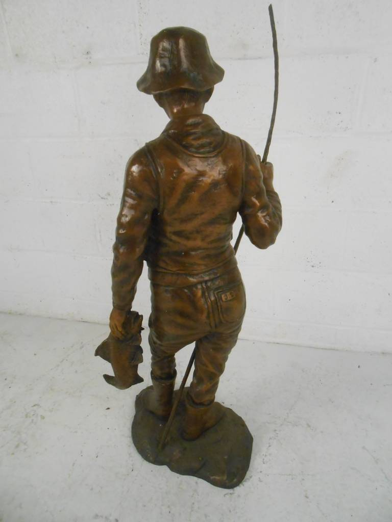 Detailed Bronze Fisherman Statue Signed For Sale At 1stdibs