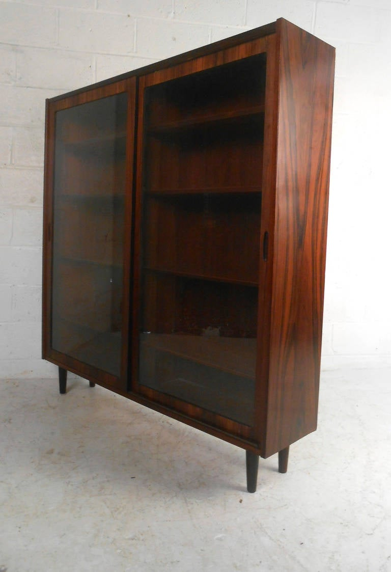 Pair of vintage danish rosewood and brushed steel side cabinets ref - Beautiful Mid Century Danish Rosewood Display Cabinet 2