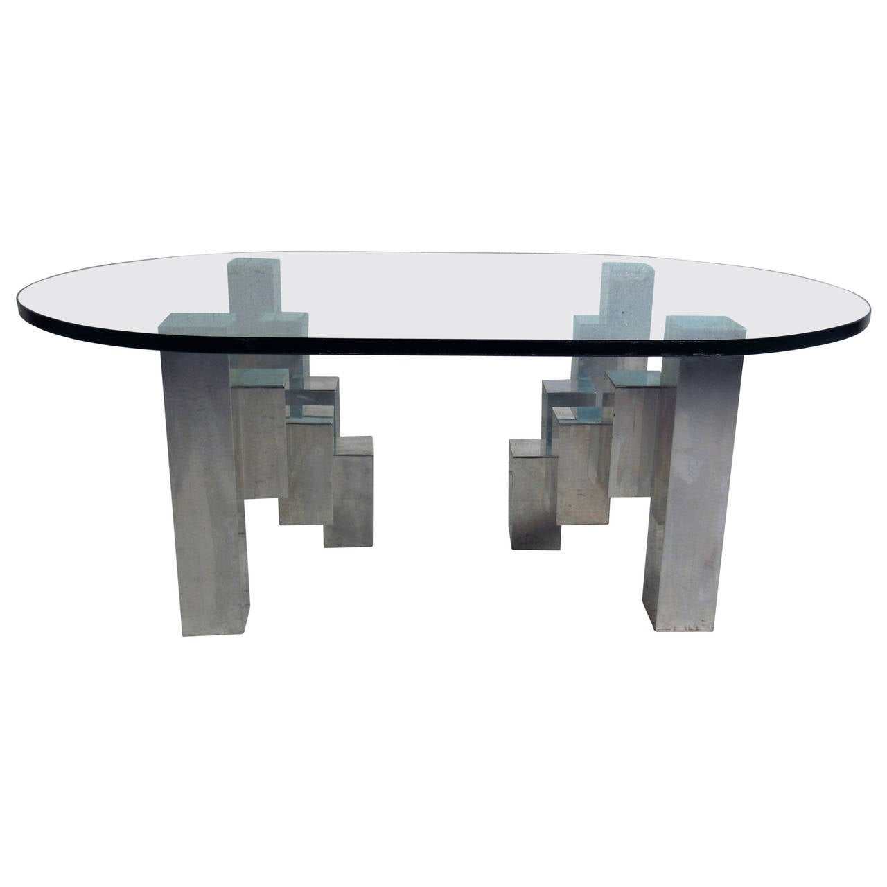 Neptune Cocktail Table Mid-Century Modern Cubist Aluminum Coffee Table in the Style of Paul ...