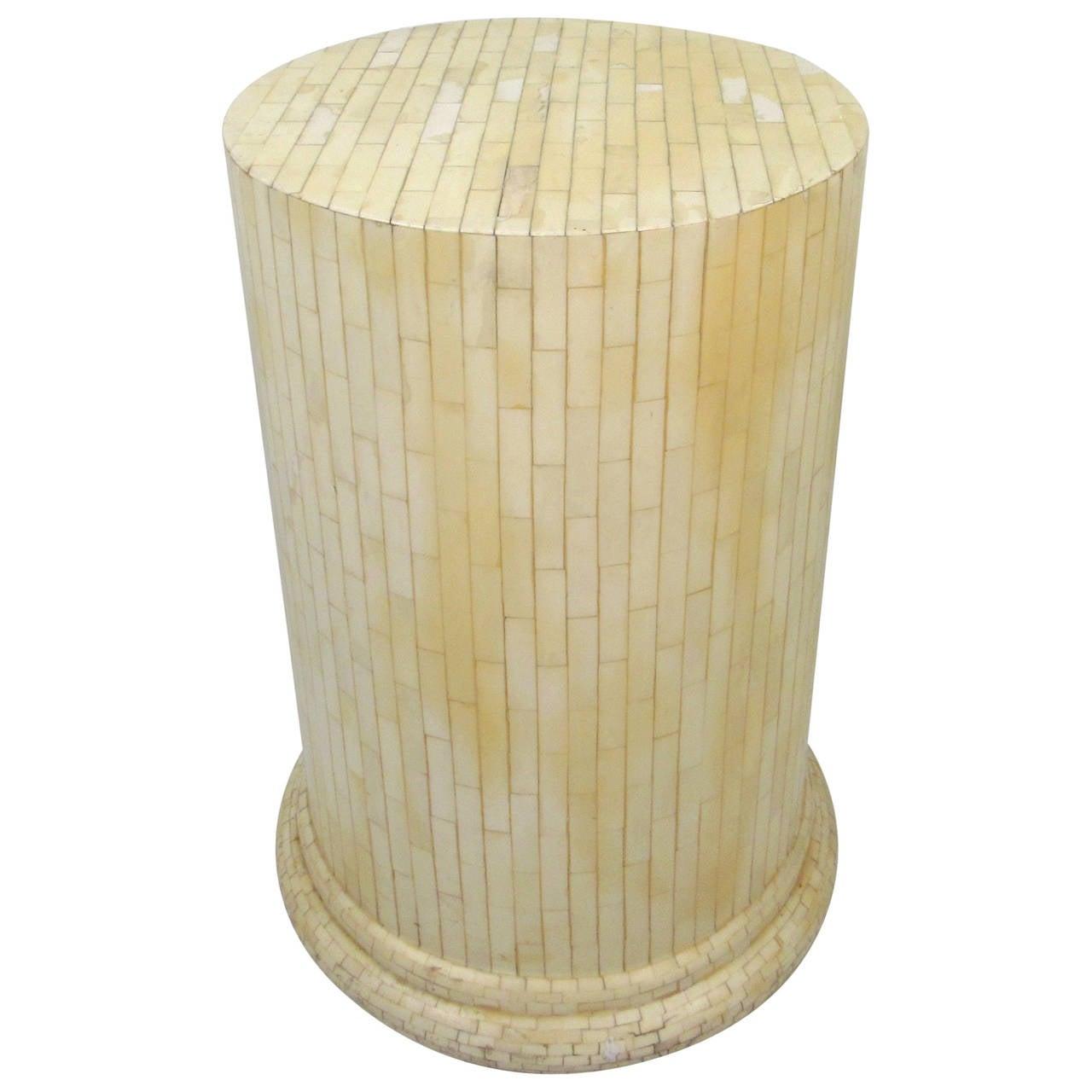 Vintage Tessellated Bone Pedestal in the Style of Enrique Garcel