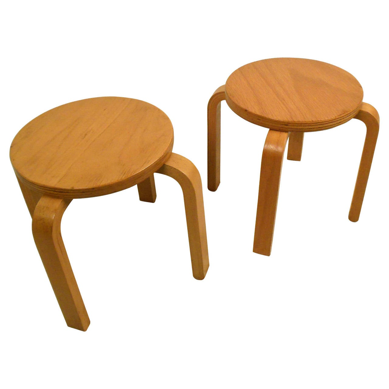 Mid Century Pair of Blonde Bentwood Stacking Tables