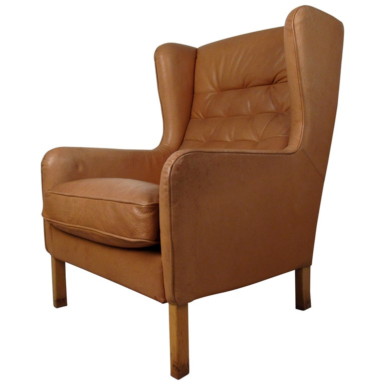 Mid-Century Modern Tufted Leather Wingback Lounge Chair For Sale