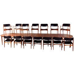 Massive Mid-Century Teak Conference Table with Eric Buck Dining Chairs