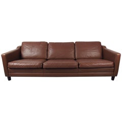 Vintage Leather Sofa in the Style of Børge Mogensen