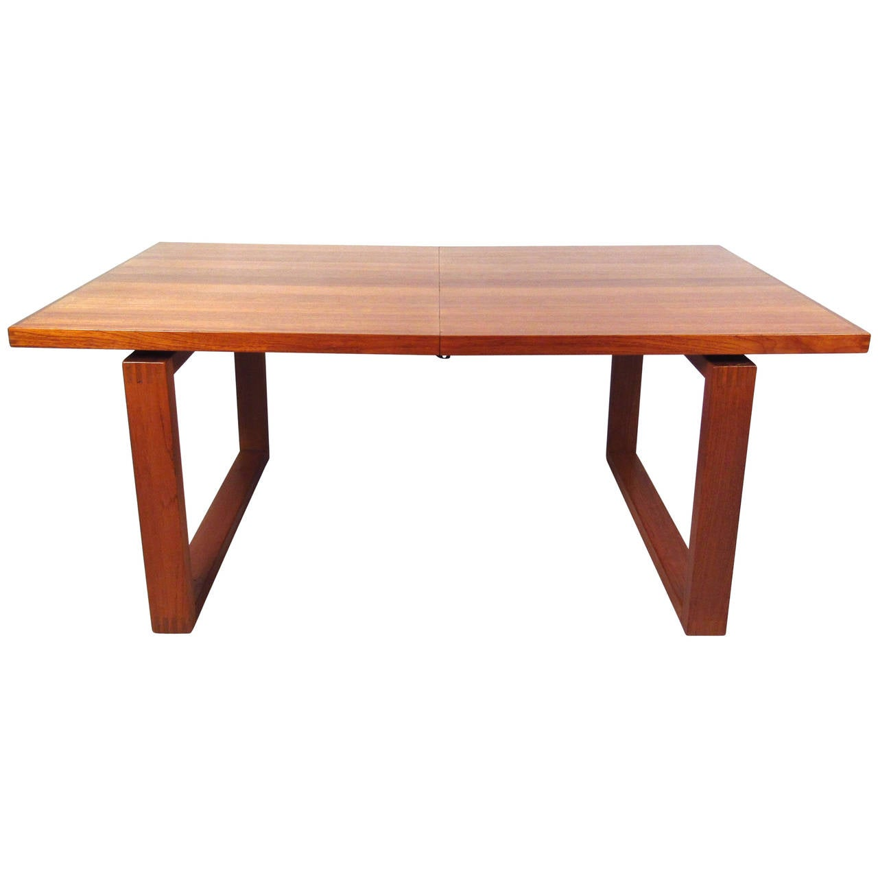 Unique danish teak sled leg dining table for sale at 1stdibs for Unique dining tables